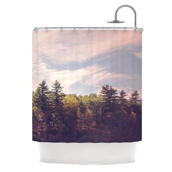 KESS InHouse Jillian Audrey Walden Woods Green White Shower Curtain (69x70)