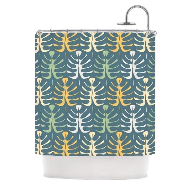 KESS InHouse Julia Grifol My Leaves on Blue Shower Curtain (69x70)