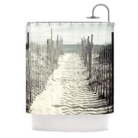 KESS InHouse Jillian Audrey Welcome to the Beach Brown Gray Shower Curtain (69x70)