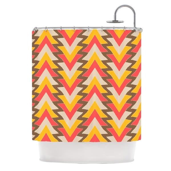 KESS InHouse Julia Grifol My Triangles in Red Orange Brown Shower Curtain (69x70)