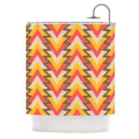 KESS InHouse Julia Grifol My Triangles in Red Orange Brown Shower Curtain (69x70)