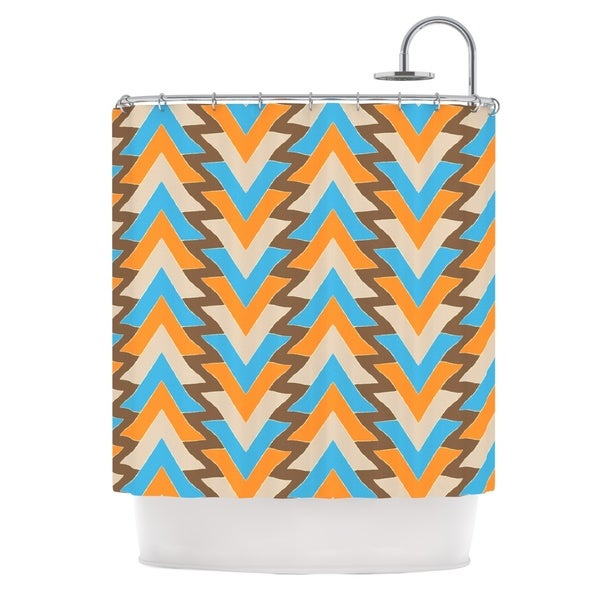 KESS InHouse Julia Grifol My Triangles in Blue Aqua Orange Shower Curtain (69x70)