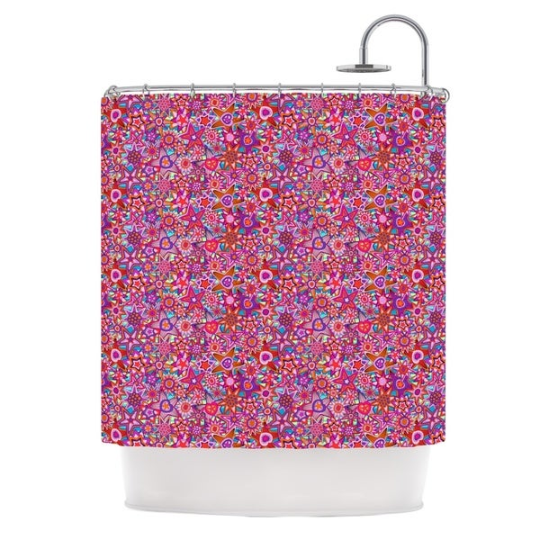 KESS InHouse Julia Grifol My Dreams in Color Pink Stars Shower Curtain (69x70)