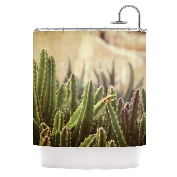 KESS InHouse Jillian Audrey Green Grass Cactus Green Brown Shower Curtain (69x70)