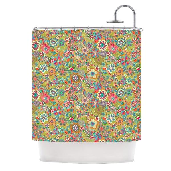 KESS InHouse Julia Grifol My Butterflies & Flowers in Green Rainbow Floral Shower Curtain (69x70)
