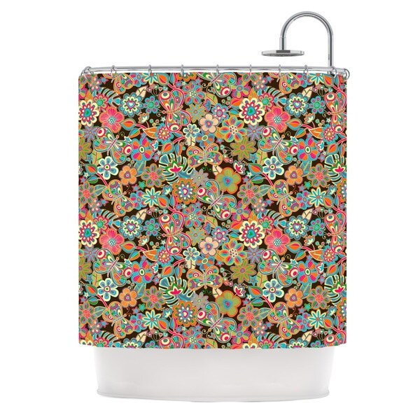 KESS InHouse Julia Grifol My Butterflies & Flowers in Brown Rainbow Floral Shower Curtain (69x70)