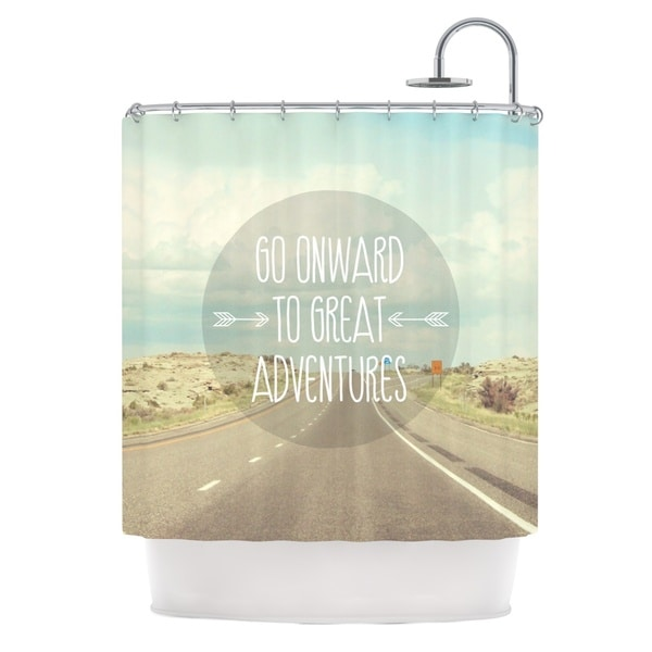 KESS InHouse Jillian Audrey Go Onward to Great Adventures Typography Shower Curtain (69x70)