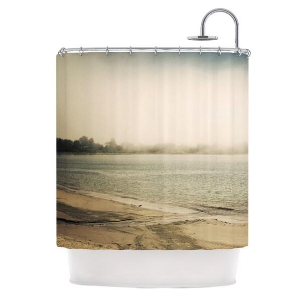 KESS InHouse Jillian Audrey Stormy Coast Brown Coastal Shower Curtain (69x70)