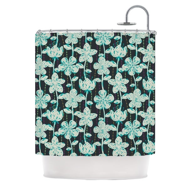 KESS InHouse Julia Grifol My Grey Spotted Flowers Shower Curtain (69x70)