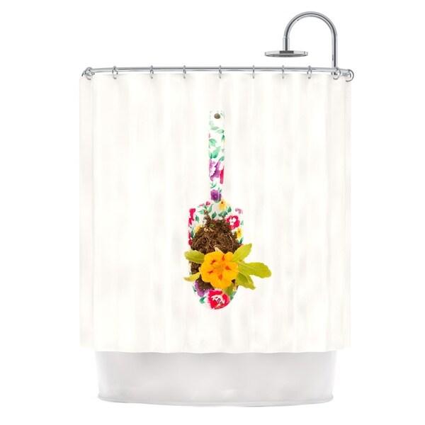 KESS InHouse Ingrid Beddoes The Gardener Beige Multicolor Shower Curtain (69x70)