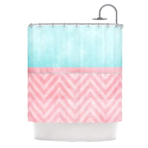 KESS InHouse Ingrid Beddoes Light Chevron Pink & Turquoise Blush Aqua Shower Curtain (69x70)