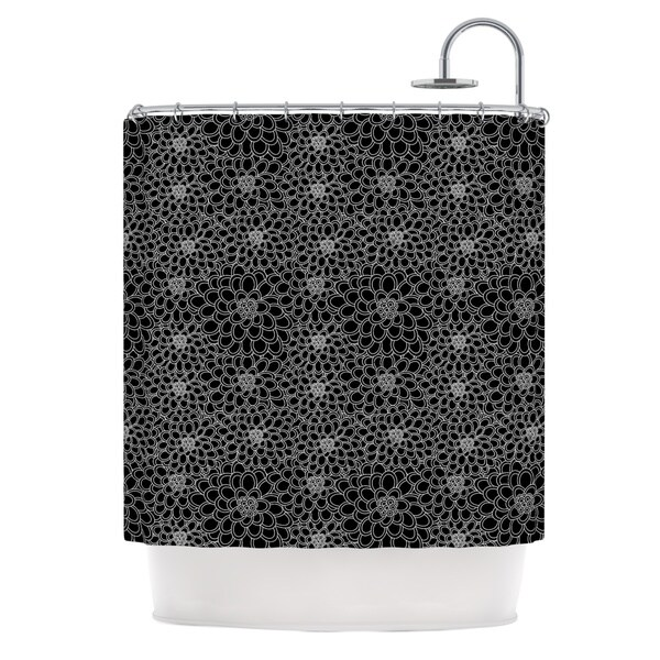 "KESS InHouse Julia Grifol ""Black Flowers"" Dark Floral Shower Curtain (69x70) - 69 x 70"