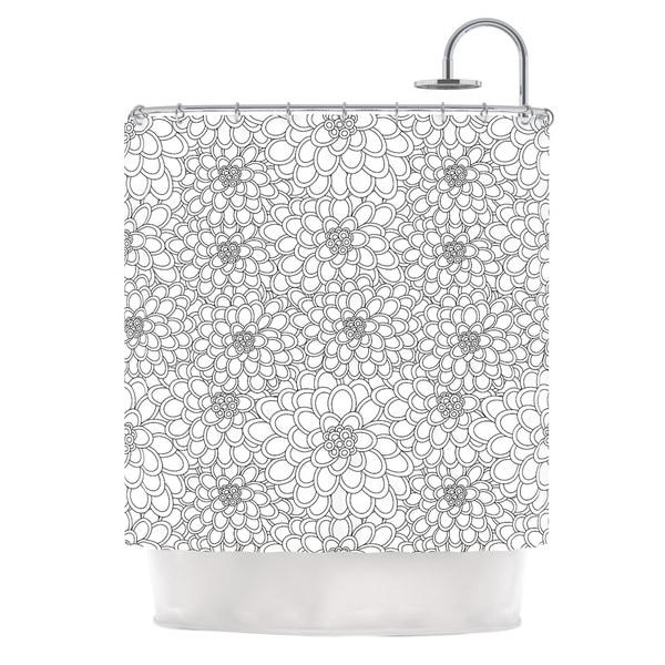 KESS InHouse Julia Grifol White Flowers Shower Curtain (69x70)