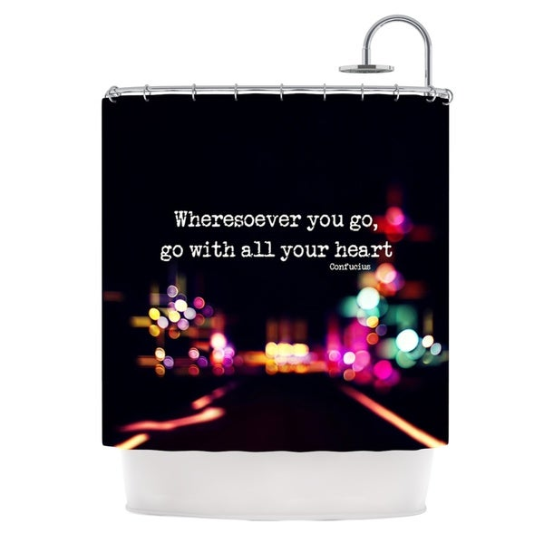 KESS InHouse Ingrid Beddoes Road Trip Neon Black Shower Curtain (69x70)
