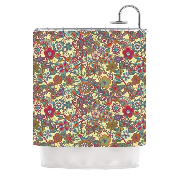 KESS InHouse Julia Grifol My Butterflies & Flowers in Yellow Shower Curtain (69x70)