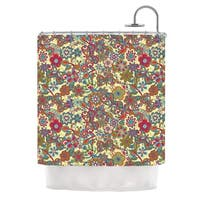 KESS InHouse Julia Grifol My Butterflies & Flowers in Yellow Shower Curtain (69x70)