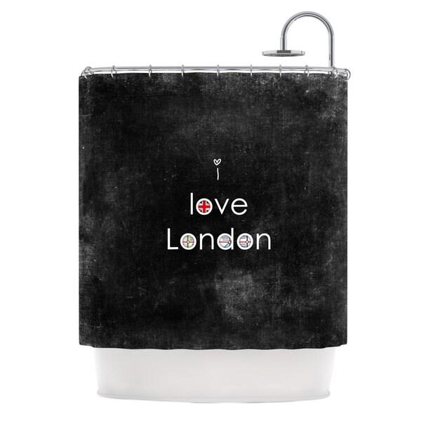 KESS InHouse Ingrid Beddoes I Love London Black Grundge Shower Curtain (69x70)