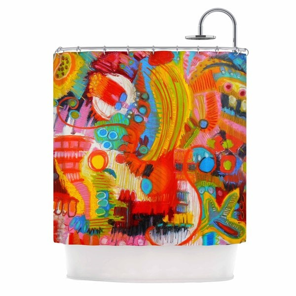 KESS InHouse Jeff Ferst Flower Power Abstract Multicolor Shower Curtain (69x70)
