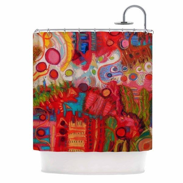KESS InHouse Jeff Ferst Desert Under A Full Moon Red Pink Shower Curtain (69x70)