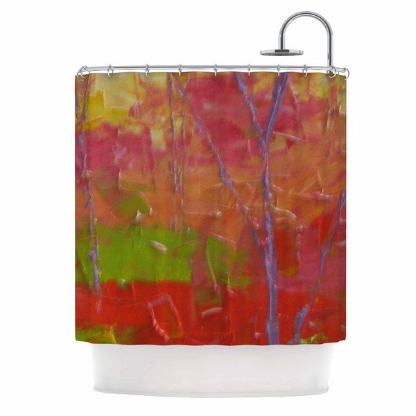 KESS InHouse Jeff Ferst Colorful Garden Orange Green Shower Curtain (69x70)