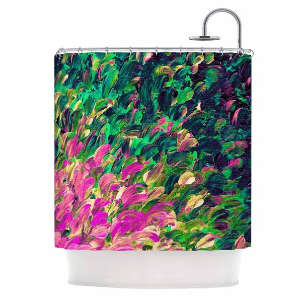 KESS InHouse Ebi Emporium Follow The Current 4 Pink Green Shower Curtain (69x70)