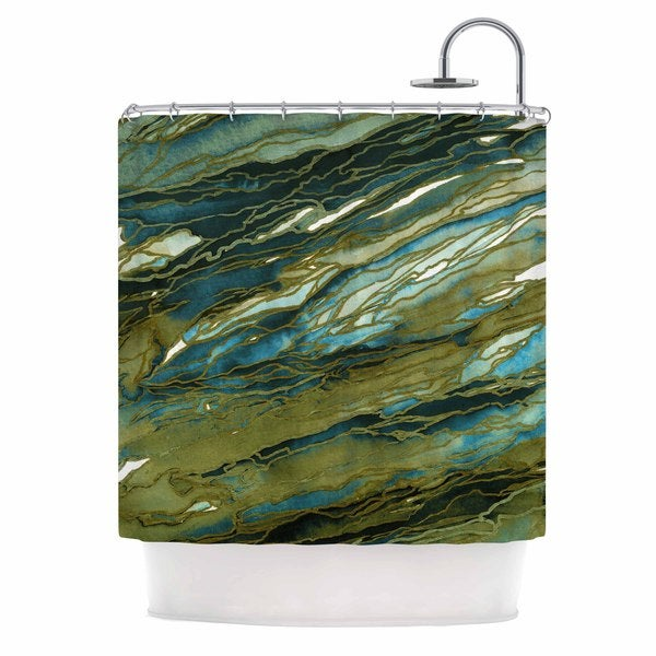 KESS InHouse Ebi Emporium Agate Magic - Olive Teal Blue Brown Blue Shower Curtain (69x70)