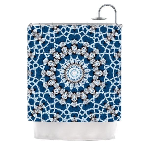 KESS InHouse Iris Lehnhardt Mandala II Blue Abstract Shower Curtain (69x70)