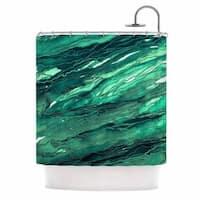 KESS InHouse Ebi Emporium Agate Magic - Teal Green Multi Jade Painting Shower Curtain (69x70)