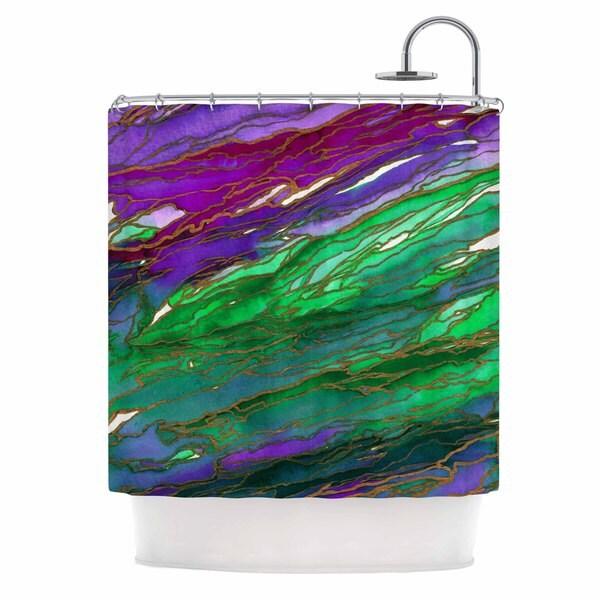 KESS InHouse Ebi Emporium Agate Magic - Lime Purple Green Lavender Shower Curtain (69x70)