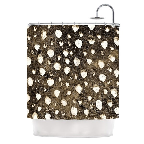 KESS InHouse Iris Lehnhardt Dots Grunge Brown White Shower Curtain (69x70)