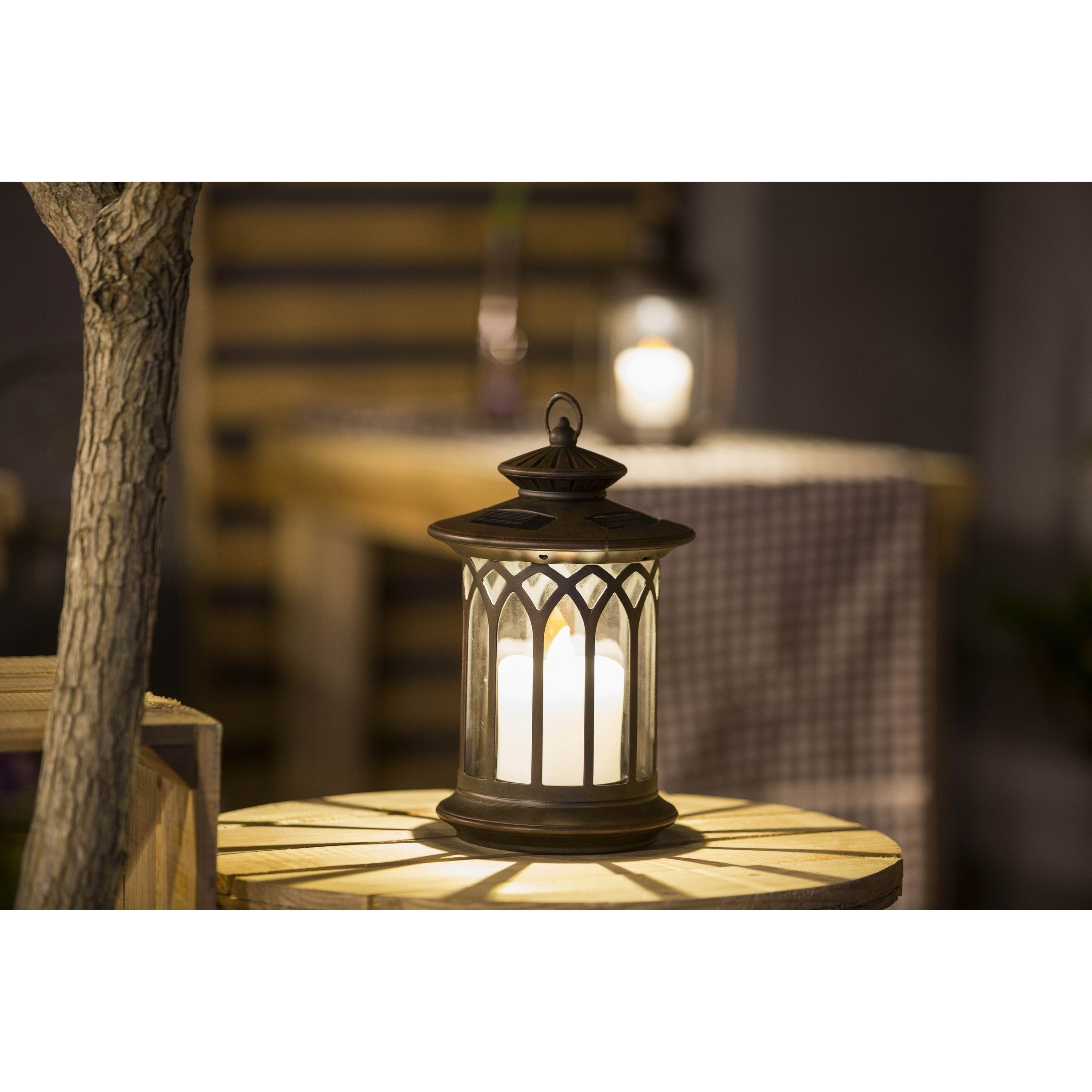 Round Lantern with Candle Solar Light (SEE Product Dimens...