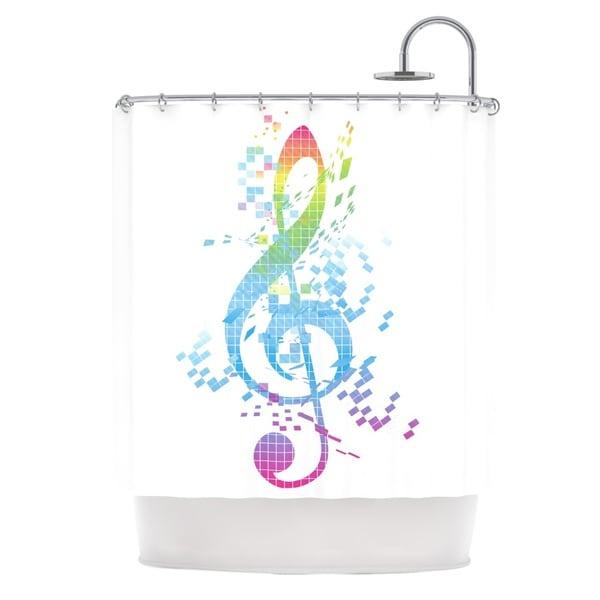 KESS InHouse Frederic Levy-Hadida Rainbow Key Multicolor Music Shower Curtain (69x70)