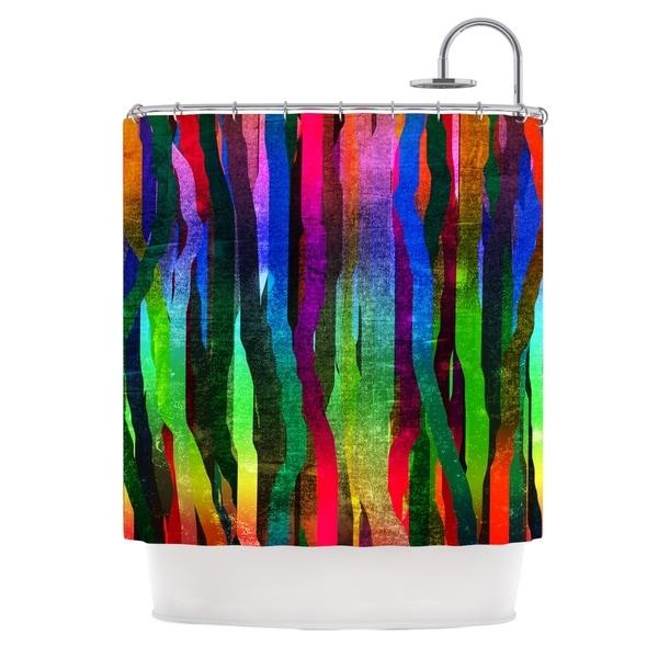 KESS InHouse Frederic Levy-Hadida Jungle Stripes II Black Rainbow Shower Curtain (69x70)