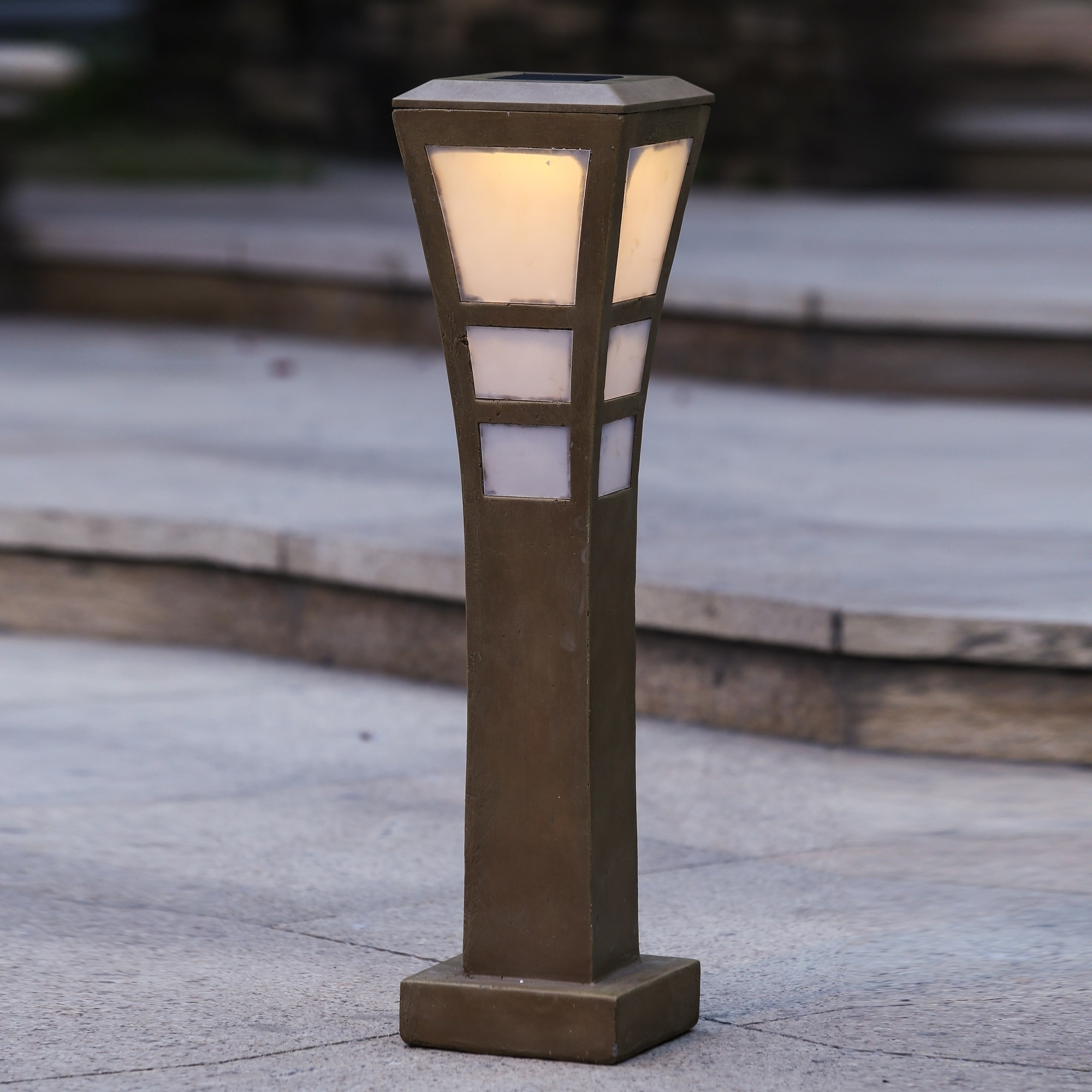 Post with Solar Light (SEE Product Dimensions), Tan (Iron)