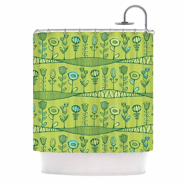 KESS InHouse Holly Helgeson Hattie's Garden Green Floral Shower Curtain (69x70)