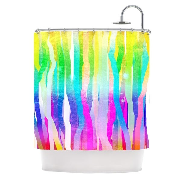 KESS InHouse Frederic Levy-Hadida Jungle Stripes Pastel Multicolor Painting Shower Curtain (69x70)