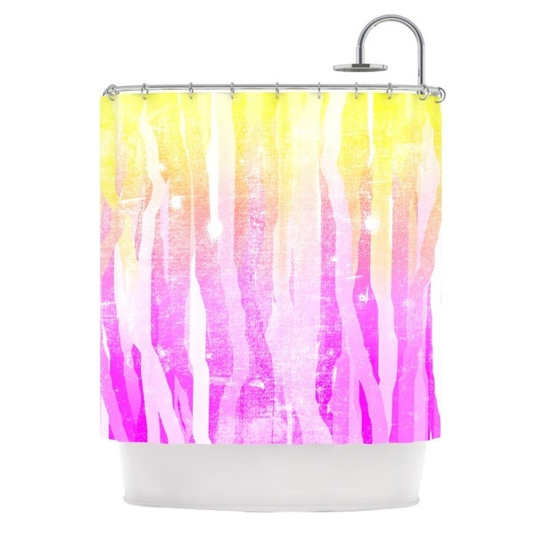 KESS InHouse Frederic Levy-Hadida Jungle Stripes Pink Yellow Painting Shower Curtain (69x70)