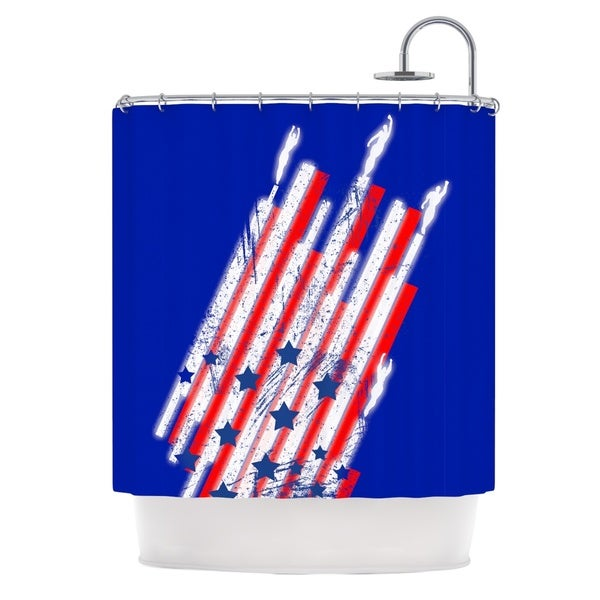 KESS InHouse Frederic Levy-Hadida Going 4ward Blue Red Shower Curtain (69x70)