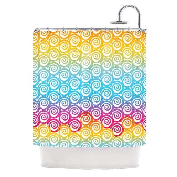KESS InHouse Frederic Levy-Hadida Ethnic Spirals Rainbow Shower Curtain (69x70)