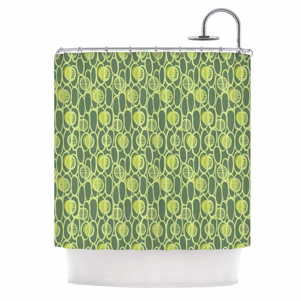 KESS InHouse Holly Helgeson Pod Perfect Green Patttern Shower Curtain (69x70)