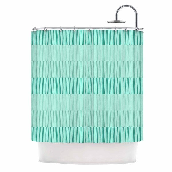KESS InHouse Holly Helgeson Mod Grass Teal Lines Shower Curtain (69x70)