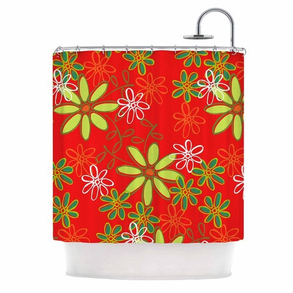 KESS InHouse Holly Helgeson Daisy Mae Red Floral Shower Curtain (69x70)