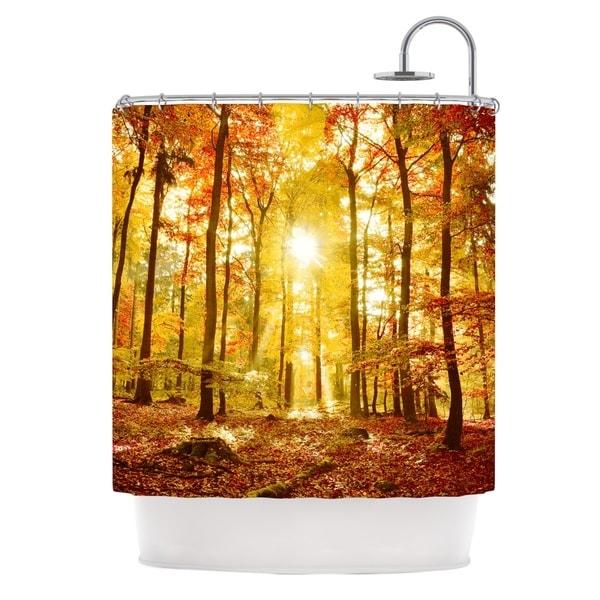 KESS InHouse Iris Lehnhardt Sun Flooded Yellow Orange Shower Curtain (69x70)