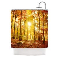 KESS InHouse Iris Lehnhardt Sun Flooded Yellow Orange Shower Curtain (69x70)
