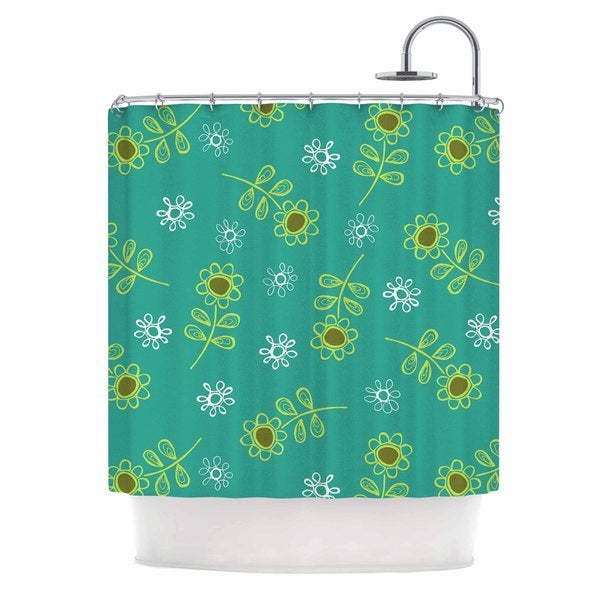 KESS InHouse Holly Helgeson Ditsy Daisy Teal Shower Curtain (69x70)