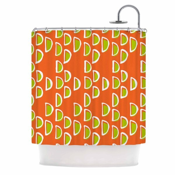 KESS InHouse Holly Helgeson Geo Seed Orange Shower Curtain (69x70)