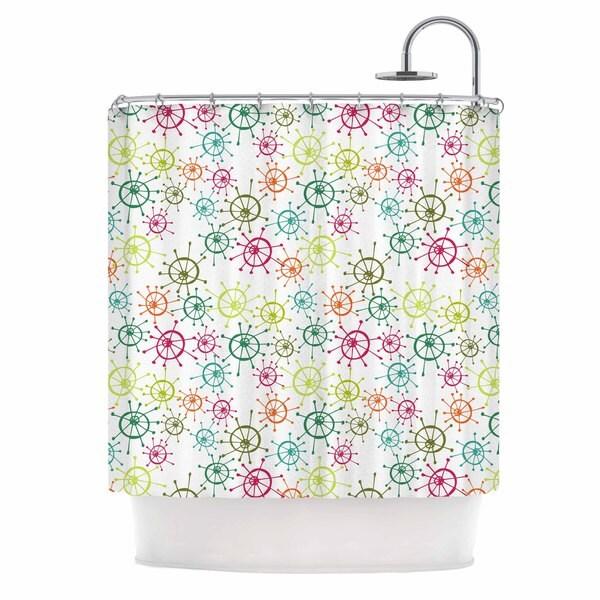 KESS InHouse Holly Helgeson Mod Flower Burst White Multicolor Shower Curtain (69x70)