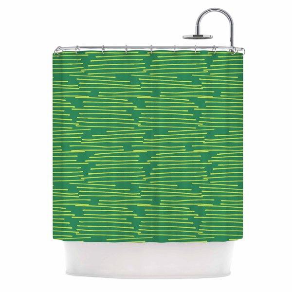 KESS InHouse Holly Helgeson Twiggy Green Line Shower Curtain (69x70)