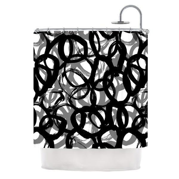 KESS InHouse Emine Ortega Rhythm Black Gray Shower Curtain (69x70)