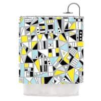 KESS InHouse Emine Ortega Fun Geo Too Aqua Yellow Shower Curtain (69x70)